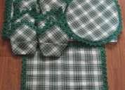 Mantel grande verde de cuadros en estilo rustico