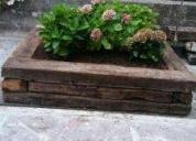 Jardineras de traviesa madera rustica