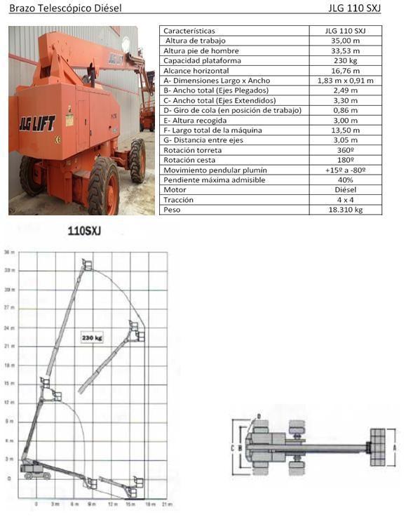 Excelente Brazo Diesel Telescopic 35m 110 SXJ, Benifaió
