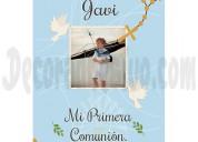 Pancarta comunión rosario celeste